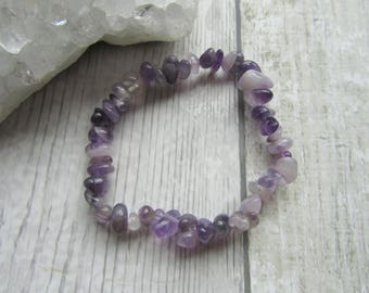 Amethyst Gemstone Chip Tumblechip Stretchy Elasticated Bracelet, Purple Gemstone Jewellery