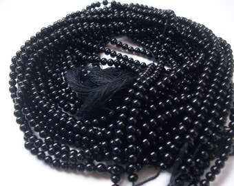 AAA Natural Black Onyx Beads Strand Round Shape Smooth Plane Size 4 MM Length 13 ''