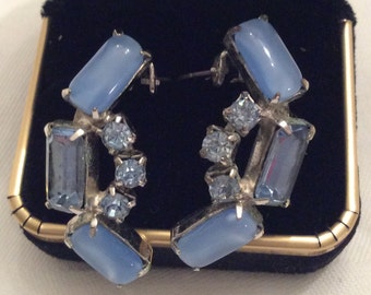 Clip Earrings, Retro Earrings, Opaque Stones, Rhinestones Set in Silver, Blue Stones and Glass