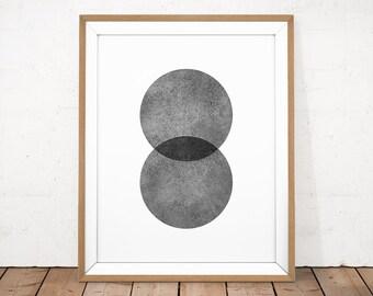 Abstract Printable, Geometric Printable, Grey Circle Art, Minimalist Wall Art, Monochrome Poster, Scandinavian Poster, Watercolor Printable