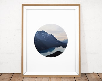 Mountains Printable, Printable Photography, Landscape Photo, Circle Photography, Nature Printable Wall Art, Landscape Print, Photo Poster