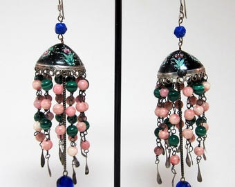 Vintage hand painted sterling silver Persia style earring
