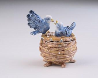 Birds in Nest Trinket Box Decorated with Swarovski Crystals