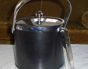 Vintage Black Leather Vinyl Wine Bottle Ice Bucket w Chrome Tongs, accents, Lid & Handle
