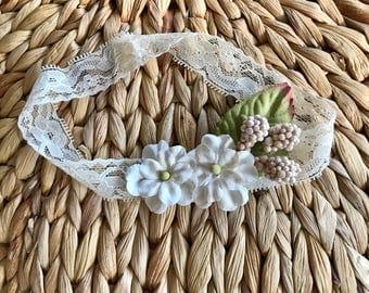 Shabby Chic Neutral Floral Headband