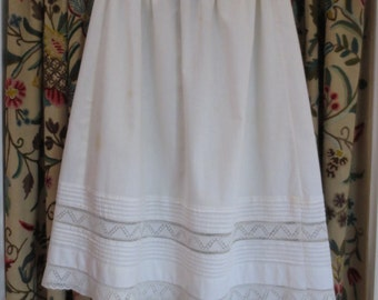 Victorian Cotton Slip/Petticoat with Lace and Pleats