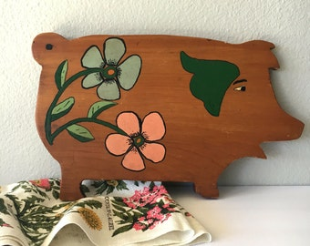 Vintage Hand-Painted Pig Cutting Board
