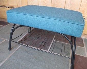 Vintage Mid Century Retro Steel Metal Base Upholstered Footstool Completely Restored Blue Turquoise