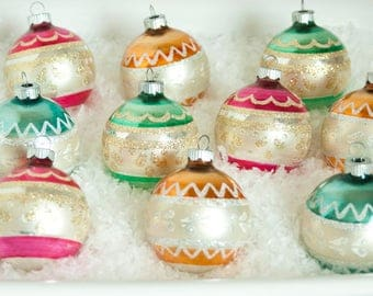 Vintage Multi-Colored Shiny Brite Christmas Ornaments with Box, Shinybrite Glitter Ornaments Set of 10