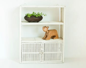 Vintage White Wicker Wall Cabinet, Wall Mount Storage Container Bathroom Display Shelf, Woven Rattan Shelving