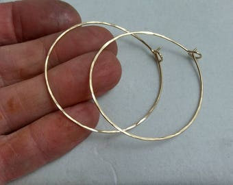 Hammered Gold Hoop Earrings, Free Shipping