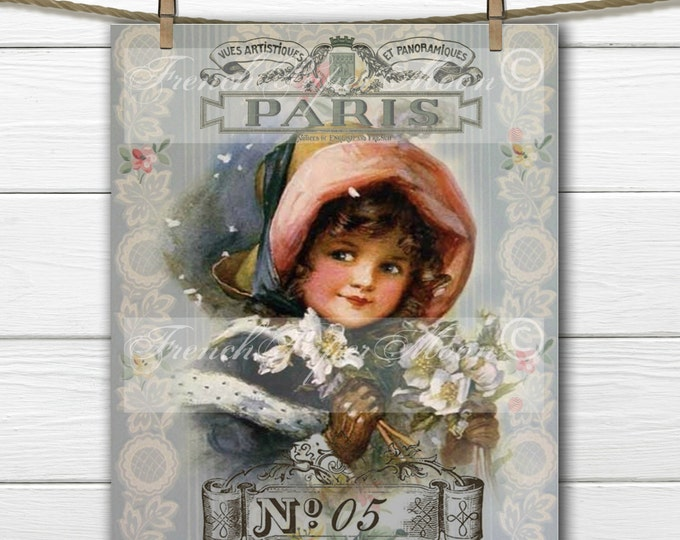 Shabby Victorian Girl with French Graphics, Victorian Child, Printable Christmas Holiday Graphic Transfer