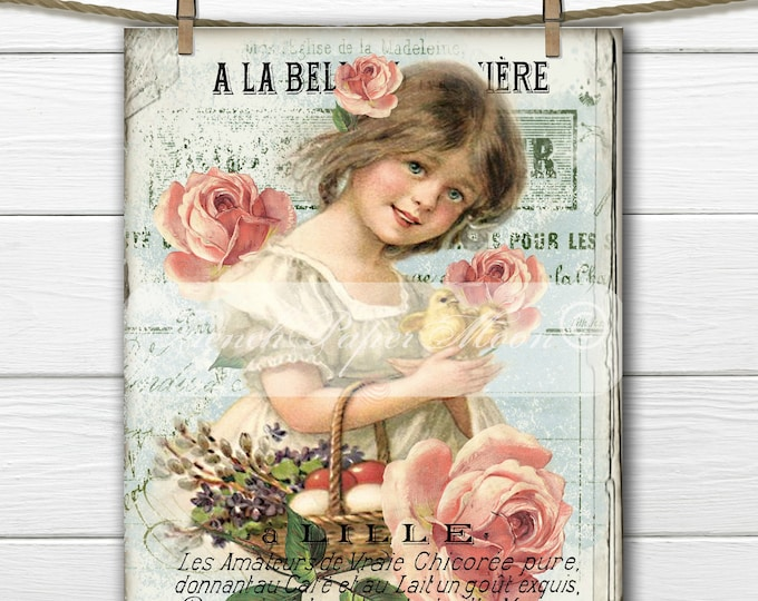 Shabby Victorian Digital Easter Girl, Chicks, Roses, French Typography, French Easter Pillow Digital Graphic Transfer