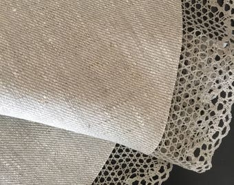 Linen Round Tablecloth Lace Grey Natural Rustic