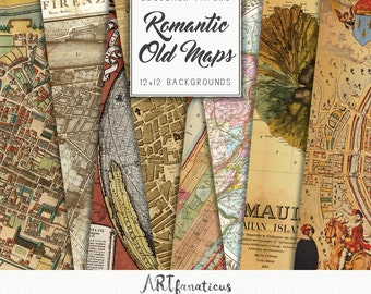 "Old world maps ""Romantic City Maps of The World"" globe, ancient maps for scrapbooking, greeting cards, website backgrounds, digital designs"