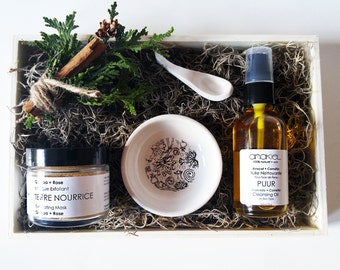 Facial Care Gift Set. Facial Mask + Cleansing Oil. Gift for Her, Girlfriend Gift, Hostess Gift, Mom Gift, Bath and Beauty Vegan