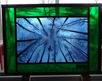 Night sky painted stained glass panel