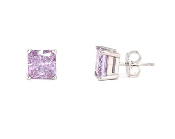 Lavender Purple Diamond Studs