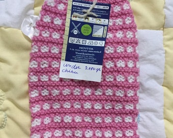 Tiny pink and white pet sweater