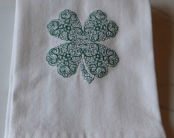 Lace Shamrock St. Patrick Irish Kitchen Dish Tea Towel