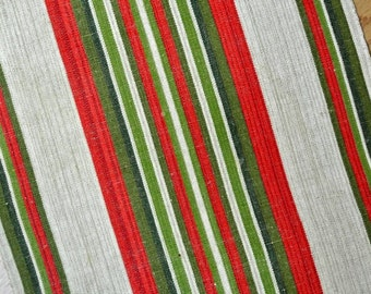 Well done wide vintage 1970s handmade handwoven red/ green/ beige linen table-cloth runner with striped pattern in Christmas colors