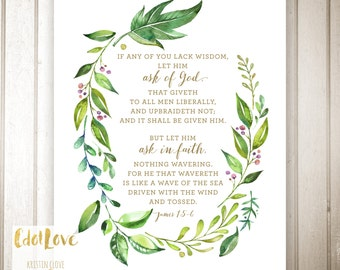 16x20 and 8x10 INSTANT DOWNLOAD - 2017 LDS Youth theme - Ask of God James 1:5-6