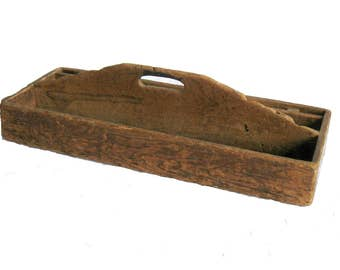 Antique Carpenter's Tool Box Tray, Divided Wooden Caddy