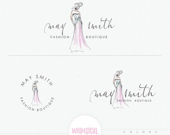 Fashion Sketch Logo -Fashion illustration - sketchy logo style - Pretty women wearing dress and hat - watercolor effect
