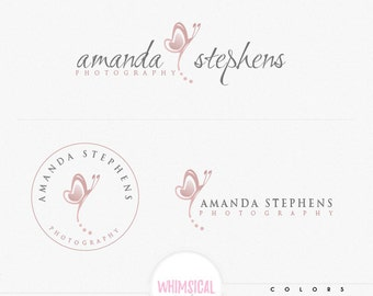 simple whimsical butterlfy3 Premade Photography Logo Watermark, Classic Elegant Script Font GOLD GLITTER butterfly children Calligraphy Logo