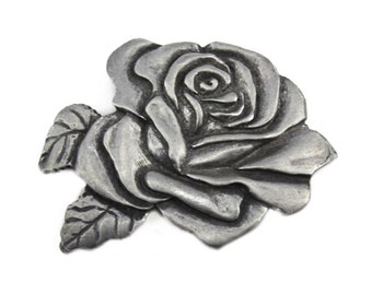 Vintage Pewter Flower Brooch, Pewter Rose Brooch, Silver Rose Pin, Silver Flower Pin