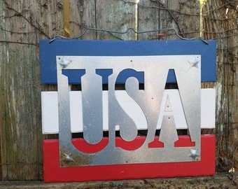 """DISCOUNTED PRICING Vintage Large USA Americana Wood & Metal sign Red White Blue paint 11x14"""" ready to hang Unique Item America Patriotic"""