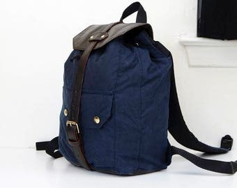 Dark Blue Waxed Cotton & Brown Leather Backpack