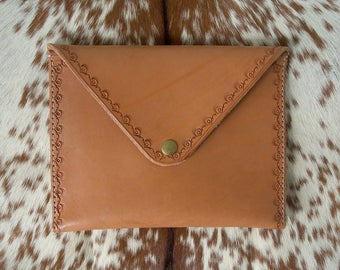 Stamped Leather Clutch