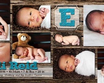 Natural Wood Simple Customizable Birth Announcement, digital printable 4x8 file