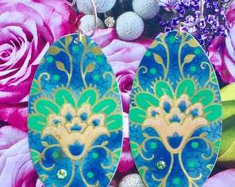 Asian inspired tin earrings; vintage tin earrings; cookie tin earrings; tin jewelry