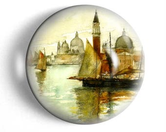 Venice paperweight vintage watercolor desk accessory large glass domed paperweight Italy travel gift for traveler.