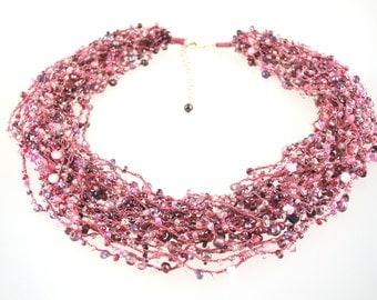 Waterfall necklace collier crochet pink rose beads pearls gemstones soft lightweight sterling silver clasp flexible wearing styles playful