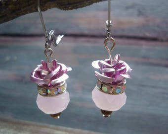 Antique Victorian earrings with pink rose crystal, glass in Downton Abbey style, by Bijouxgeisha  for a elegant limited edition earrings