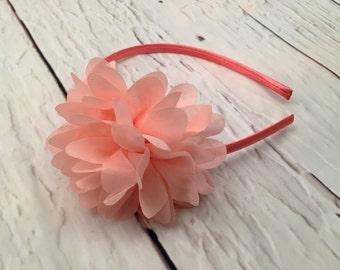 Peach Chiffon Flower Headband, Flower Headband, Chiffon Headband, Flower Girl, Wedding Accessories