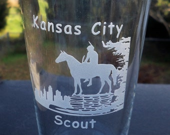 KC Scout Etched Pint Glass, The Scout, KC Pint Glass, Kansas City Souvenirs, Kansas City Landmark Glasses, KC Skyline