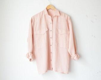 oversized pale pink boxy button down wool blouse shirt 70s // M-L