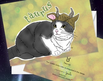 Taurus Cat zodiac sign + lucky color cards Greeting Card (5x7 size) tuxedo cat, Bicolor cat, black and white cat