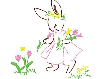 Vintage Style Bunny Embroidery Design