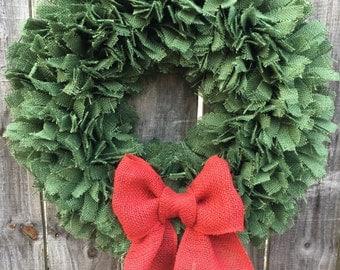 Christmas Wreath, Burlap Christmas Rag Wreath, Holiday Wreath, Rustic Christmas Wreath, Country Christmas Wreath, Farmhouse Christmas