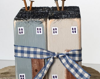 Little Houses * Recycled wood art * Rustic Art * Little Cottages * Reclaimed wood art * Gift for Mum * New home gift * Little wooden houses