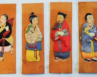 Vintage Set of 4 3-D Japanese Figures