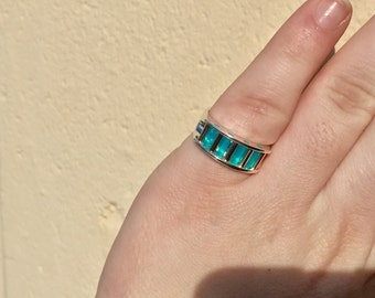 glacier blue 14k yellow gold and sterling silver aperture ring