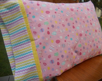 Easter Pillowcase, Girls Easter Pillowcase, Kids Pillowcase, Easter Eggs, Kids Bedding, TWO Color Choices, Standard Size Pillowcase