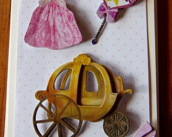 Handmade Cards, Handmade Birthday Cards, Children's Birthday Card,Princess Card