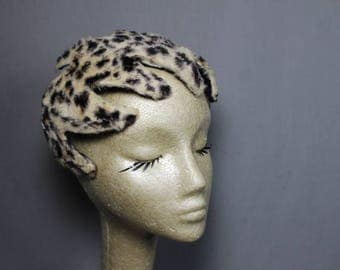 Vintage CHIC Leopard Faux Fur Casques Calot Hat Sassy and Classy Ladies